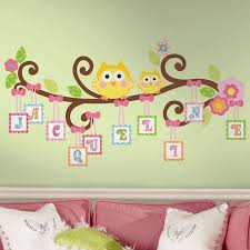 Bathtub Stickers Scroll Tree Owls Letter Branch Self Stick Wall Accent Set