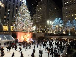 new york city christmas tree at rockefeller plaza top of the