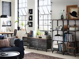 living room furniture ideas ikea a living room with shelving units and a tv bench in black metal and wood in