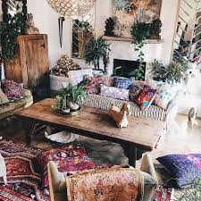 mixed prints and patterns make this living room so boho chic