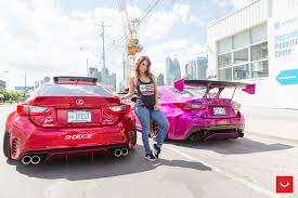 lexus vossen wheels instagram model tianna g connects with pink widebody lexus rc f