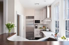 captivating neutral efficient kitchen layout featuring curve