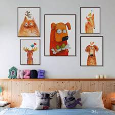 2017 kawaii animal deer cat dog large canvas art print poster no