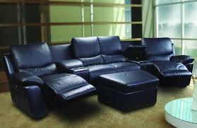 home theater recliner black leatherette home theater sectional w motorized recliners