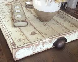 Ottoman Tray Coffee Table Or Ottoman Tray Large Rustic White By Shabbyfresh