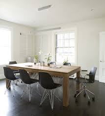 Cool Swivel Chairs Design Ideas Simple Black Painted Wooden Meeting Table Mixed White Upholstered