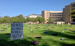 Csusb Map College Student Suicides Illustrated With Backpacks On Csusb Lawn