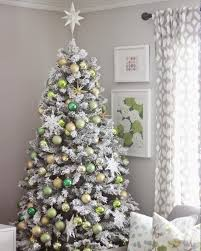 Pre Lit Pre Decorated Christmas Trees Frosty Flocked Christmas Tree Treetopia
