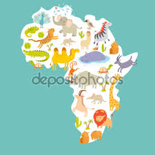 The World Map With Continents And Oceans by Animals World Map Africa U2014 Stock Vector Coffeee In 95723710