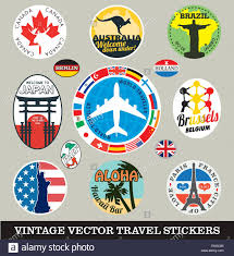travel stickers images Set of vector images of vintage travel stickers stock vector art jpg