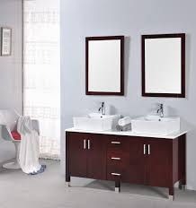 contemporary brown wooden bathroom cabinets oak polished with two