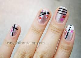 star and line nail art designs easy nail art stamp
