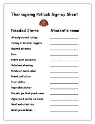 thanksgiving potluck invitation and sign up for parents by kinderswiss