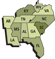 usa map south states south usa agriculture and careers in the southern usa