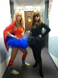 me and my best friend as wonderwoman and batgirl for halloween