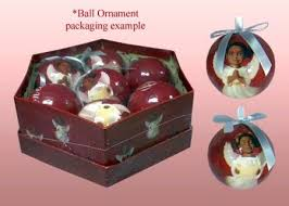 cherubs ball african american christmas ornament set glossy