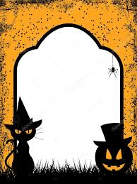 halloween background cat and pumpkin halloween border background u2014 stock photo elaineitalia 12737886