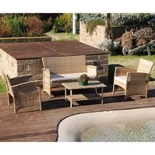 arredo giardino set salottino polyrattan color naturale divano poltrone tavolino
