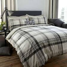 Dunelm Mill Duvets Salvage Check Grey Reversible Duvet Cover And Pillowcase Set Dunelm