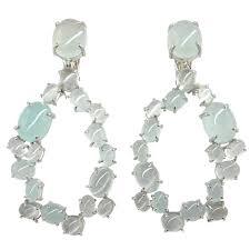 aquamarine drop earrings cabochon aquamarine gold oval garland drop earrings at 1stdibs