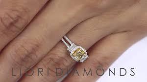 cushion cut diamond engagement rings fd 570 1 25 ct natural fancy vivid yellow cushion cut diamond