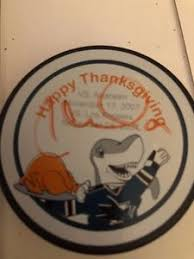 san jose sharks mystery puck happy thanksgiving signed by milan