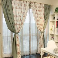 Olive Colored Curtains Pastoral Floral Jacquard Multi Colors Eco Friendly Curtains Buy