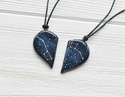 big necklace pendants images Half heart necklace big dipper pendant little gift two hearts jpg