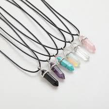 stone leather necklace images Hexagonal column necklaces natural crystal pendants pink purple jpg