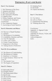 thinking fast and slow table of contents of study notes