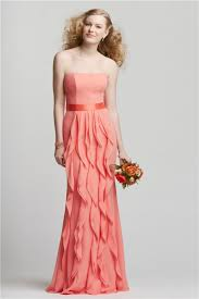 coral dresses for wedding guests strapless coral chiffon ruffle wedding guest bridesmaid dress