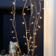 5 decorative snow effect twig lights 50 warm white leds 90cm