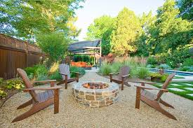 Backyard Gravel Ideas - impressive backyard gravel ideas with orange cushions