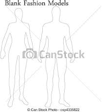 vector illustration of set of blank male and female fashion models