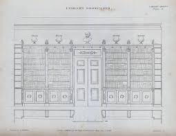 file cabinet making library bookcases surrounding a door engrav