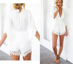 cheap jumpsuits and rompers 2018 sale summer casual white lace floral v neck