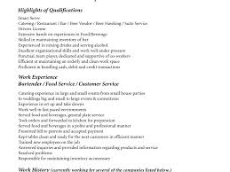 Food Service Resume Sample 100 Resume Template Bartender No Experience Bar Resume