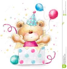 Sweet Birthday Cards Teddy Bear With The Gift Happy Birthday Card Stock Illustration