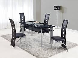 Frosted Glass Dining Table And Chairs Dining Table Set Black Frosted Glass Top With Shelf And Chairs