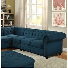 Traditional Fabric Sofas Stanford Ii Traditional Sectional Teal Fabric