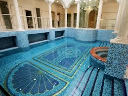 glass fences barriers along mosaic pattern ceramics floor closed