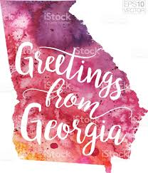 Map Georgia Usa by Greetings From Georgia Vector Watercolor Map Stock Vector Art