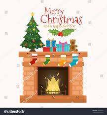 christmas fireplace socks decorations christmas tree stock vector