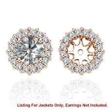 diamond earring jackets white si2 diamond halo solitaire stud bridal earrings jackets 14k