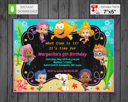 bubble guppies invitation etsy