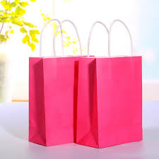 pink gift bags 20pcs lot hot pink kraft paper bag with handle wedding party favor