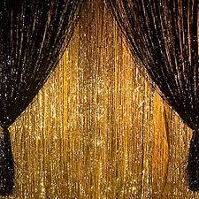 Gold Shimmer Curtains Metallic Gold Foil Fringe Curtain Wedding Birthday