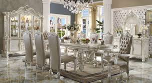 White Dining Room Set Acme Versailles 9 Piece Pedestal Dining Set In Bone White By