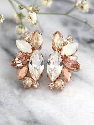 white opal earrings rose gold champagne cluster earrings blush bridal earrings bridal