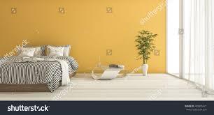 minimal decor 3d rendering yellow bedroom minimal decor stock illustration